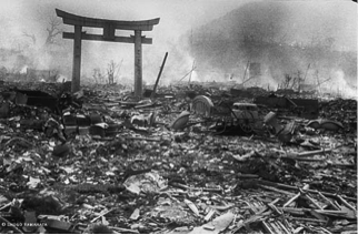 Aftermath of the atomic bomb that was dropped on Nagasaki, August 9, 1945.