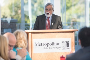Interim President Devinder Malhotra speaks to Yellow Ribbon Company representatives, Oct. 1, 2015.