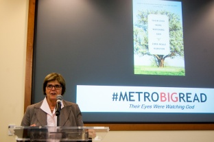 Metropolitan State Provost Ginny Arthur, speaks to attendees and introduces the keynote speaker at The Big Read kick-off event Jan. 28, 2016 at the Saint Paul Campus Library.