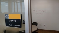 Student study rooms feature white board walls for collaboration.