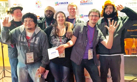 The 'red carpet' photo taken at the festival includes, from left to right back row: Jackson Agar, Brian Jackson, Peder Aalgaard, Mayank Kant. Left to right in the front row: Tim Clark, Jenna Jahner, Ian Withey.
