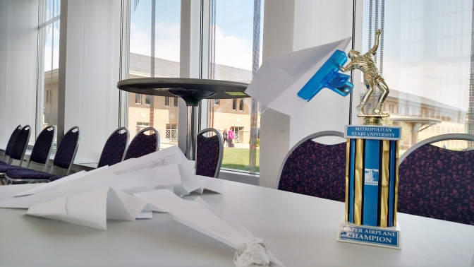 Faculty, staff and students compete in Great Paper Airplane Contest