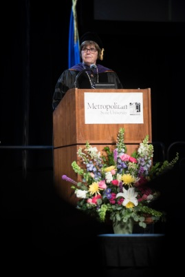 Provost Ginny Arthur speaking at commencement.
