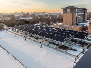 Energy for the 60,000-square-foot building, in the form of a roof-mounted, 15-kilowatt photovoltaic array, is provided by an Xcel Energy grant.