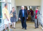 Associate professor John Schneider conducts a campus tour with editorial board member Pat Effenberger and editor Mike Burbach of the Saint Paul Pioneer Press, who visited the Saint Paul Campus and met with incoming President Ginny Arthur, June 16, 2016.