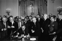 Changing America: President Lyndon B. Johnson Signs the Civil Rights Act, July 2, 1964. Image courtesy of Lyndon Baines Johnson Library and Museum